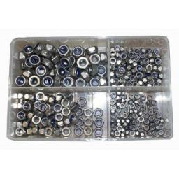 Assorted  Steel Metric M5 - M10 Nylocs (400) used with Nuts and Flat Washers 8.8 High Tensile Fasteners Bolts Set Screws Metric