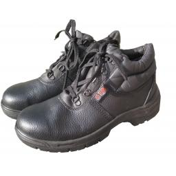 Safety Boots (size 8) BLACK CHUKKA Leather Safety Work Boots , Steel Toe Cap & Midsole
