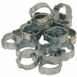 Metal O Clips 9/16 (13mm-15mm) (25) - Double Ear Clamps Pipe Water Fuel