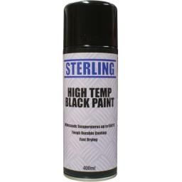 Sterling High Temperature Black Paint Aerosol/Spray (400ml) Stove Cooker BBQ Matt Paint