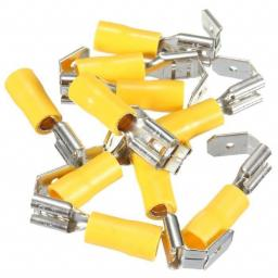 Yellow Piggy-back 6.3mm (crimps terminals) - Yellow Car Auto Van Wiring Crimp Electrical Crimping Piggy Back Joiner Connectors - Auto Electric Cable Wire