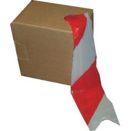 Barrier Tape (Red & White) 72mm x 500m - Stripe Non Adhesive Barrier Hazard Warning Utility Tape Safety Danger Caution Accident