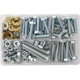 Assorted Box of M10 Hardware - Setscrews, Nuts and Flat Washers (150) Bolts Metric 10mm Mixed Kit