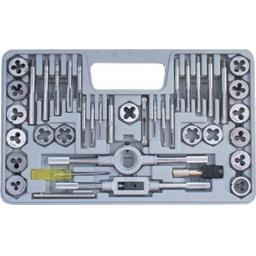 Silverline Tap and Die Set (40 piece) 3-12mm - Screw Bolt and Nut Thread Cutting Tool Repairer