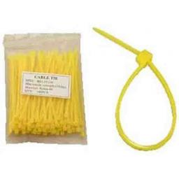 Cable Ties 100mm x 2.5mm YELLOW  - Nylon Plastic Zip Wire Tie Wraps fastening electrical wiring