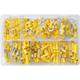 Assorted Box of  Yellow Electrical Terminals (260) - Assorted Insulated Female Spade Terminals Crimp Connector Electrical Terminal Wiring Wire cable Car Auto Van