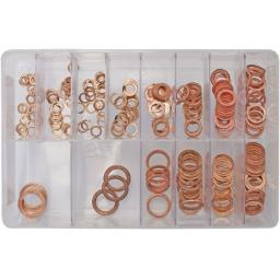 Assorted Box of  Copper Sealing Washers (Metric)(250) - Car Engine Washers Seal Flat Ring Gasket