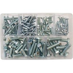 Assorted Setscrews M5-M10 BZP (150) used with Nuts and Flat Washers 8.8 High Tensile Fasteners Bolts Set Screws Metric