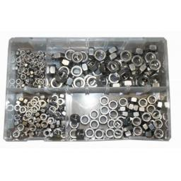 Assorted Stainless Steel Metric M5 - M10 Nylocs (250) used with Nuts and Flat Washers 8.8 High Tensile Fasteners Bolts Set Screws Metric