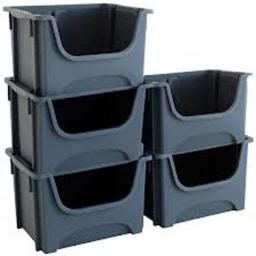 Stackable Storage Bins - Free Standing Stacking  Plastic Boxes Bins Storage Containers Workshop Warehouse Garage