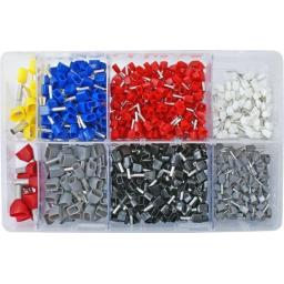 Assorted Box of  Twin Cord Ends (770) - Cord End Bootlace Ferrules Terminals Insulated French Tein Double Entry Cable