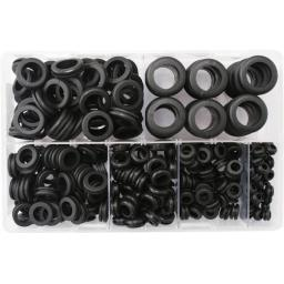 Assorted Box of Wiring Grommets - Hole Rubber Grommet Open Gasket Wiring Cable Ring Cord