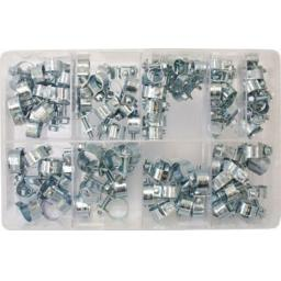 Assorted Box of  Mini Hose Clips (7-17mm) (110) - Mini Fuel Line Clamp Diesel Petrol Air Pipe Clamps