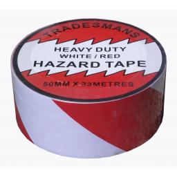 Adhesive Hazard Tape - Red/White - Self Adhesive Roll Marking Barrier Safety Danger Caution Warehouse Store Security