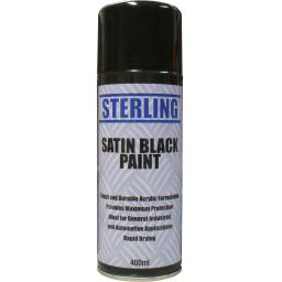 Sterling Satin Black Spray Paint Aerosol/Spray (400ml)- - Car Van Auto Truck Lorry Motorbike Boat Bodyshop Paint