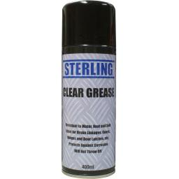 Sterling Clear Grease Spray Aerosol/Spray (400ml)- Chain Door Water Repellent Terminals Brakes Gears Hinges Door Latch lock