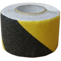 Black / Yellow Anti Slip Tape - Hazard Warning Barrier Safety Grip Black & Yellow Self Adhesive Tape Roll Non Slip Striped