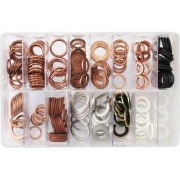 Assorted Box of  Sump Washers (220) - Car Engine Sump Plug Seal Flat Ring Fuel Hydraulic
