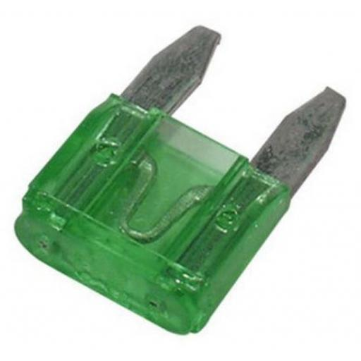 MINI Blade Fuses 30 Amp (Green) - 30A Green Mini Small  Blade Wedge Spade Fuse - Car Van Truck Lorry Auto Tractor Marine Boat Wire Cable Wiring Electric