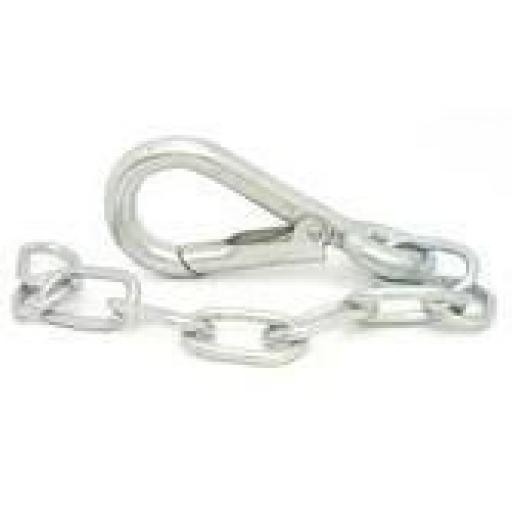 SpringHook and Chain (5) - Spring Buckle Snap Chain Link Safety Lock Hook Ring  Carabiner