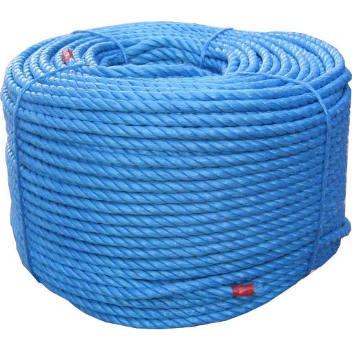 Polypropylene rope 10mm x 220m  - Poly Rope  Coils Tarpaulin Camping Agriculture Marine Blue