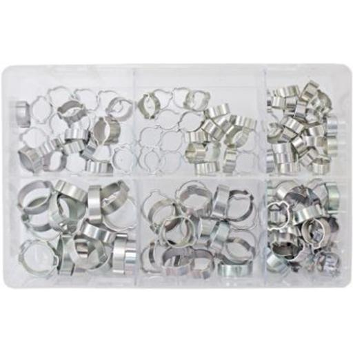 Assorted Box of  O Clips 1/4 - 3/4 (140) Double Ear Clamps Pipe Water Fuel