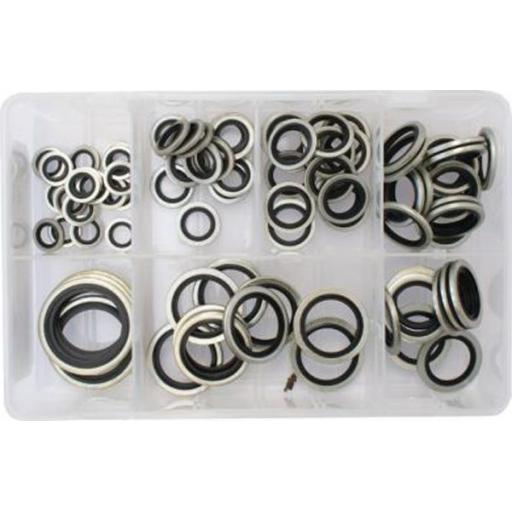 Assorted Box of Bonded Seal Washers (Dowty Washers) BSP - Sealing Washer Hydraulic Oil Petrol Sealing Washers