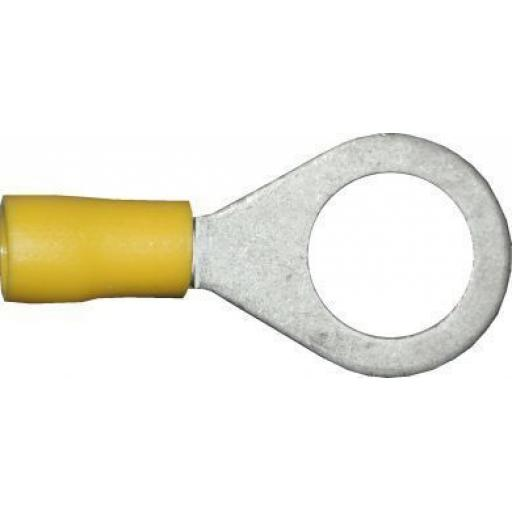 Yellow Ring 13.0mm (1/2) (crimps terminals) - Yellow Car Auto Van Wiring Crimp Electrical Crimping Ring Joiner Connectors - Auto Electric Cable Wire