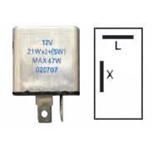 Flasher Unit (12v) - 2 Pin Flasher Hazard Indicator Relay Unit