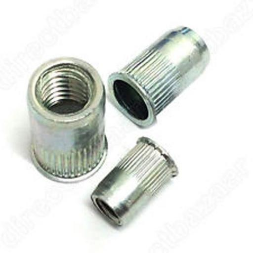 Serrated Nutserts 4mm (50) - Rivnuts. Grooved. Serrated. Steel. Rivet nuts. Inserts blind nutsert