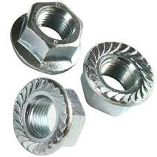 Steel Flanged Nuts 6mm Bzp (200) - 6mm Metric  Zinc Plated Serrated Steel Hex Flanged Full Nuts - M5,M6, M8 , M10,M12  bolt, set screw