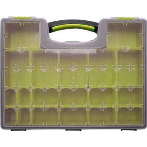 Storage Case (Large) - 19 Removable Compartment Professional Tool Organiser Case Box Storage container Screw Nail Nut Bolt Clip