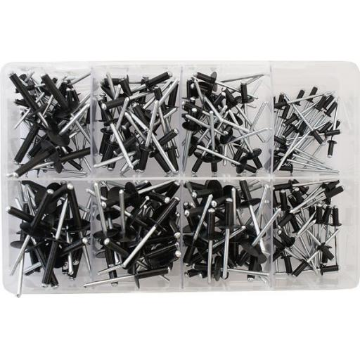 Assorted Box of  Black Pop Rivets (200) - Black Pop Blind Rivet Open Dome Head Riveting