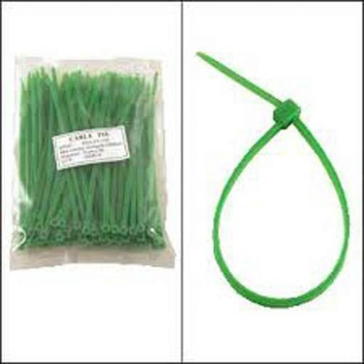 Cable Ties 200mm x 4.8mm GREEN - Nylon Plastic Zip Wire Tie Wraps fastening electrical wiring