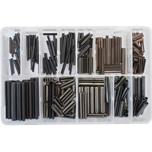 Assorted Box of  Spring Roll Pins (300) - Slotted Spring Tension Pins Sellock C Roll Pin