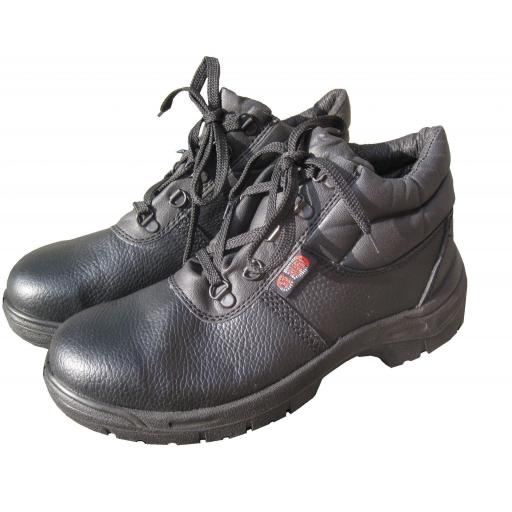 Safety Boots (size 10) BLACK CHUKKA Leather Safety Work Boots , Steel Toe Cap & Midsole