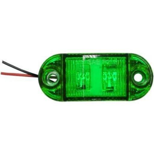 LED Side Marker - Green - Side Marker Lights Lamp Truck Van Lorry Trailer Indicators 12V 24V