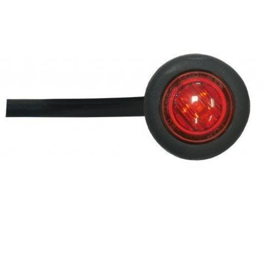 LED Utility Button Lamp (Red)- Car Truck Lorry Trailer Round Led Button Rear Side 12V Truck Marker Light Lamps