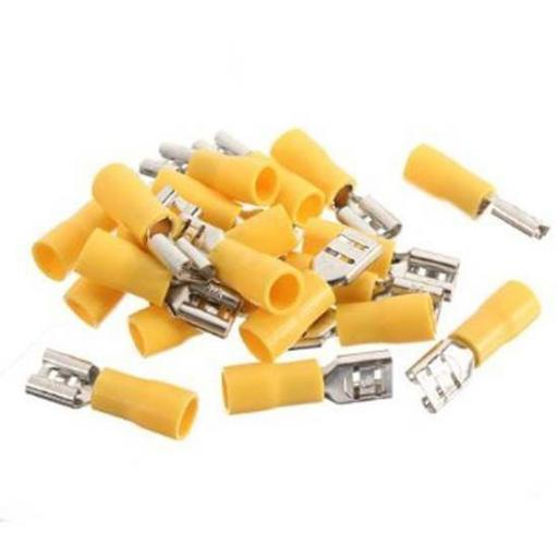 Yellow Female Spade 9.5mm (crimps terminals) - Yellow Car Auto Van Wiring Crimp Electrical Crimping Spade Joiner Connectors - Auto Electric Cable Wire