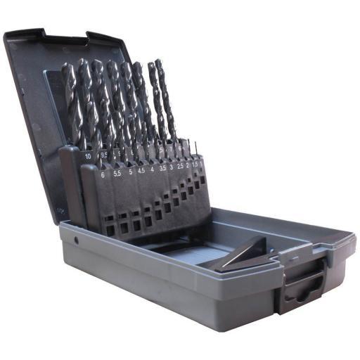 Metric Jobber Drill Bit  Set Flute Ground 19pc - Jobber Drill Bit Sets for Metal Steel Iron Plastic Wood