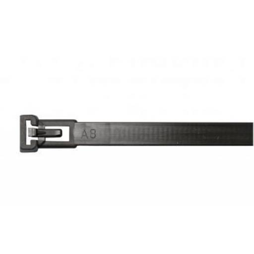 Releasable Cable Ties 250 x 7.6mm Black - Nylon Plastic Zip Wire Tie Wraps fastening electrical wiring