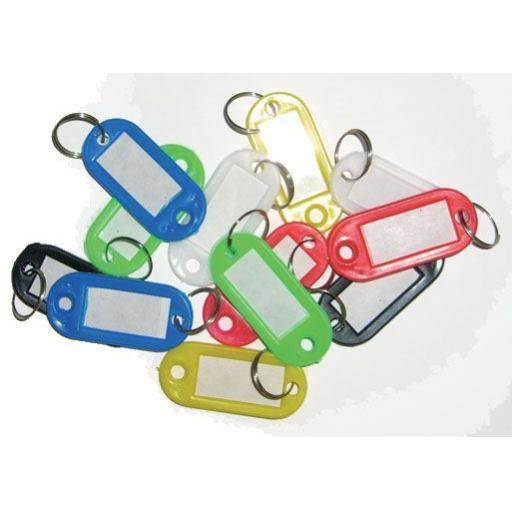Pack of Key Fobs (12 assorted colours) Coloured Small Plastic Key Fobs Luggage ID Tags Labels Key rings with Name Cards