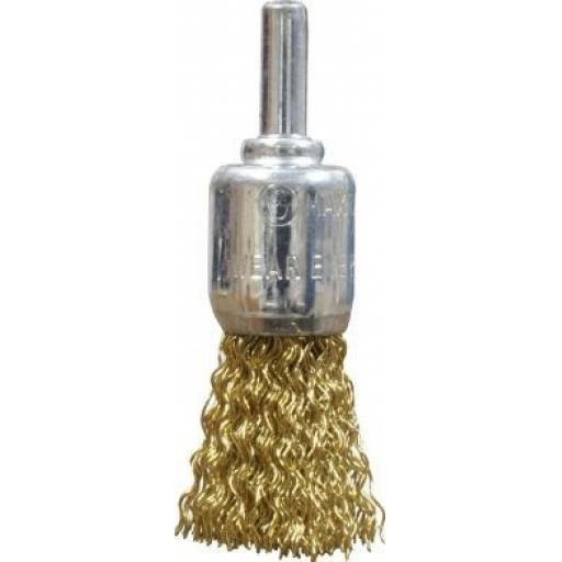 Spindle Mounted End Crimped Wire Brush (19mm diam) Rust Paint Removal