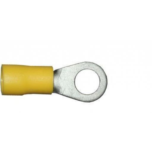 Yellow Ring 6.4mm (0BA) (crimps terminals) - Yellow Car Auto Van Wiring Crimp Electrical Crimping Ring Joiner Connectors - Auto Electric Cable Wire