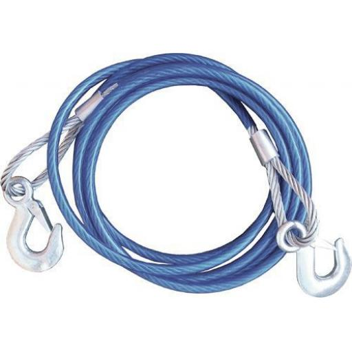 Tow rope and Hooks 10mm x 4m (= 13ft) - 5 tonne Car Steel Towing Cable Tow Rope Snatch Strap
