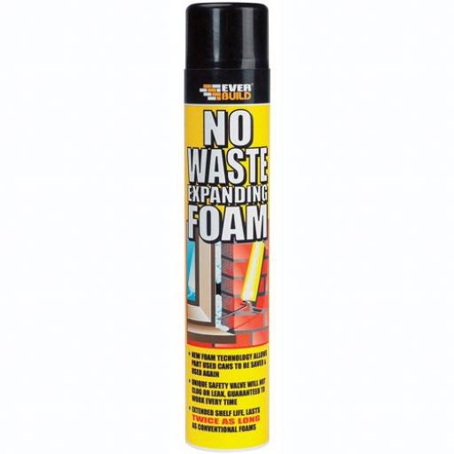 Everbuild No Waste Expanding Foam (750ml) -Gap Filler Builder House  Window Door Polyurethane Low Expansion