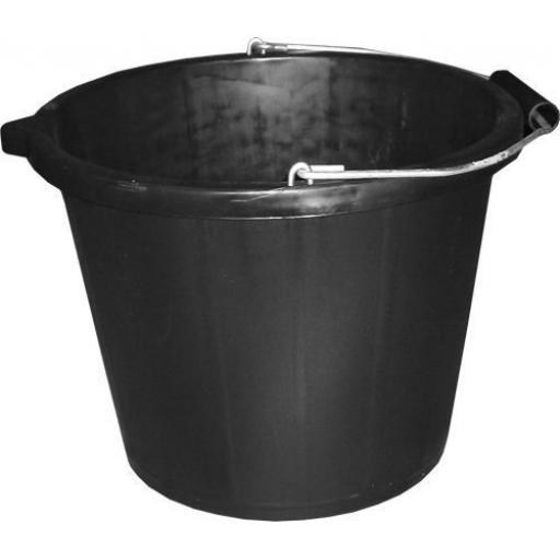 Bucket (14.8 Ltr) - Black Polythene Water carrier Buiding Waste Cleaner Container pail dispenser holder