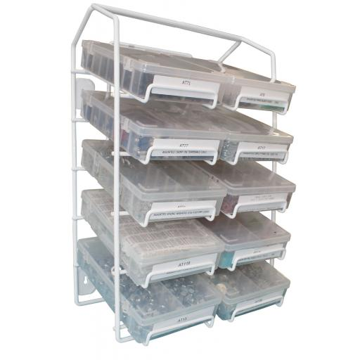 Rack for Assorted Boxes (plastic-coated steel) - Store  Holder for flip up storage trays boxes