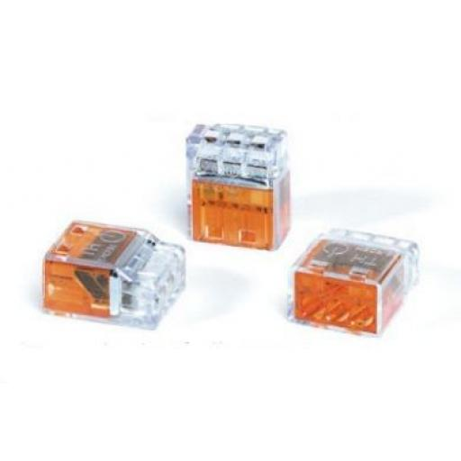 Helacon 3-hole Terminals (100) -  Mini Wire Connectors  Cable Lead Electrical Wiring Push Fit Terminals