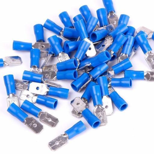 Blue Tab (male) 6.3mm (crimps terminals)  -  Blue Car Auto Van Wiring Crimp Electrical Crimping Spades Connectors - Auto Electric Cable Wire